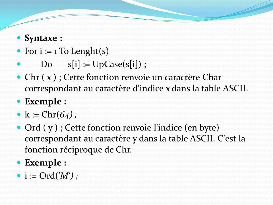 Syntaxe : For i := 1 To Lenght(s) Do s[i] := UpCase(s[i]) ;